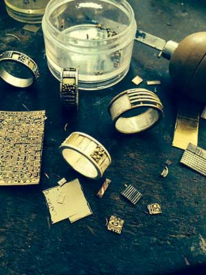 Lynda Bahr's jewelry studio with rings in process of being created