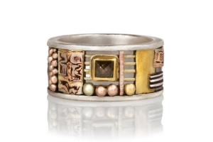 Tunitis Creek Wide Mosaic Cutout Band with Square Rustic Diamond