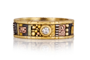 Tunitis Creek 18k Yellow Narrow Gold Ring with Diamond