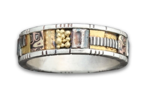 Tunitis Creek Narrow Mosaic Band with Sterling Silver Rails