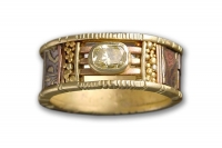 Yellow Gold Mosaic Tunitis Creek Anniversary Band with Canary Diamond