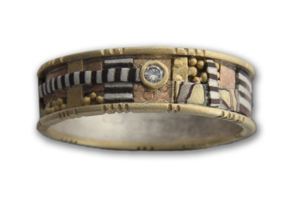 Yellow Gold Tunitis Creek Mosaic Ring with One Rose Cut Diamond