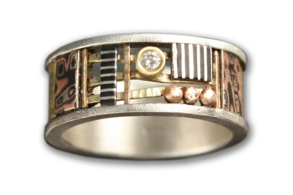 Textured Gold Davenport Alicia Ring with Diamond