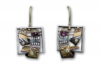 Loma Mar Diamond Dangle Earrings with Rhodolite Garnets