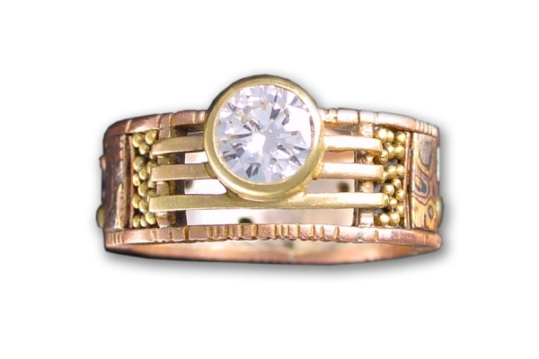 Rose Gold Tunitis Creek Anniversary Band with Diamond Solitaire
