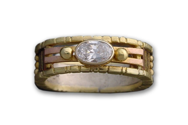 Yellow Gold Tunitis Creek Anniversary Band with Oval White Sapphire