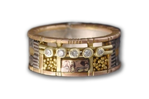 Rose Gold Tunitis Creek Anniversary Band with Five Diamonds