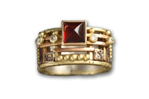 18K Yellow Gold Tunitis Creek Anniversary Band with Mosaic Rhodolite Garnet and Four Diamonds