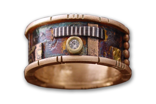 Rose Gold and Sterling Butano Band with Mosaic Accents and Diamond