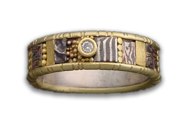 18K Yellow Gold Tunitis Creek Ring with Half Round Rails and Diamond