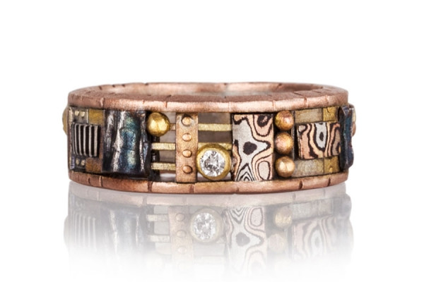 Tunitis Creek Rose Gold Narrow Ring with Cutout Windows and Diamonds