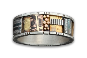 Tunitis Creek Mosaic Band with Sterling Silver Rails